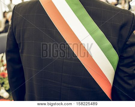 Vintage Looking Italian Mayor With Sash