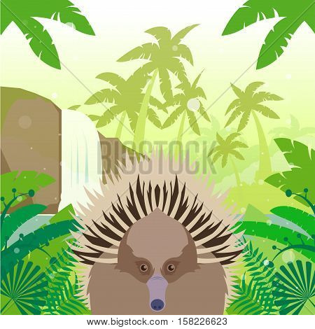 FlatVector image of the Echidna on the Jungle Background