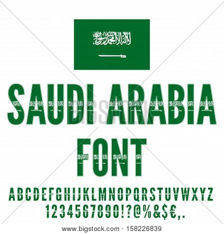 Saudi Arabia National flag flat stylized Font. Alphabet and Numbers in Vector Set