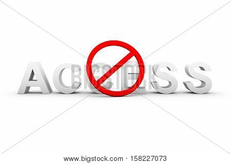 access denied text white background 3d illustration
