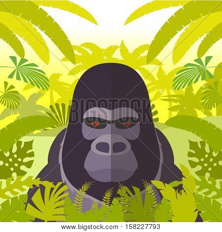 Flat Vector image of the Gorilla on the Jungle Background