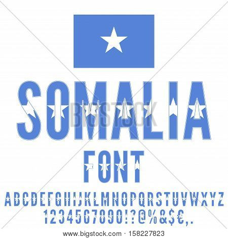 Somalia National flag flat stylized Font. Alphabet and Numbers in Vector Set