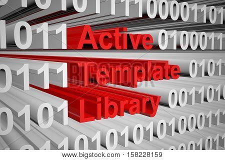 Active Template Library in the form of binary code, 3D illustration