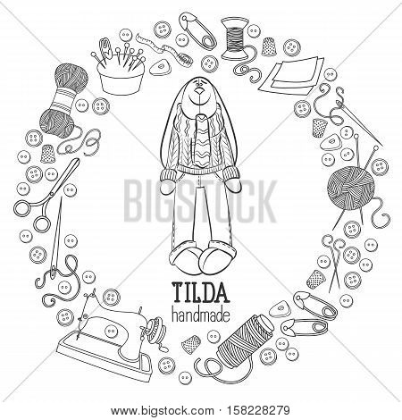 Scetch vector hand drawn set of object Hand Made Tilde doll hare cartoon doodle symbols and items.Round frame composition