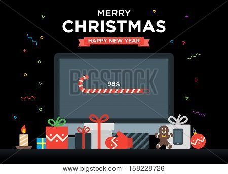 Geek Happy New Year and Christmas Card with abstract loading bar on Computer, Gifts, candy, candle and holiday objects. Material design Vector illustration