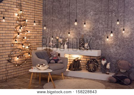 Scandinavian Winter Interior Of Room. Horizontal