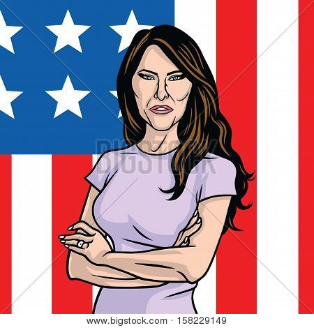 Melania Trump The First Lady of the US. On the Flag of the United States Background Vector