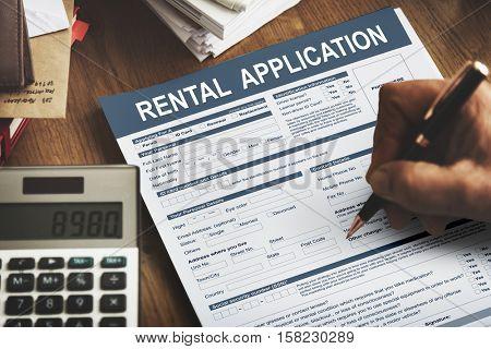 Rental Application Form Financial Concept
