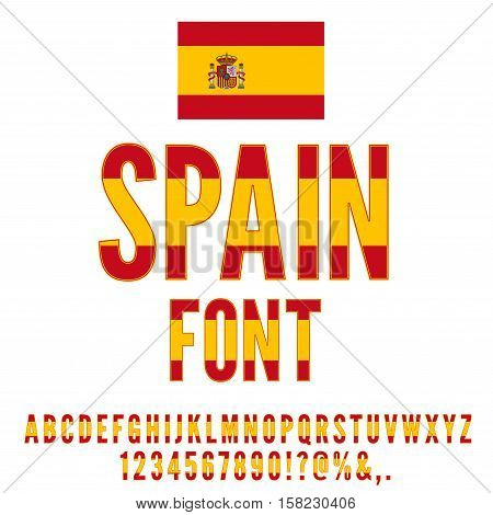 Spain National Flag stylized Font. Alphabet, Numbers and symbols in Vector Set