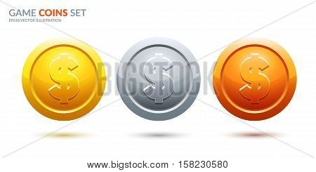Game coins set. Dollar coins. Ranking medals set. Eps10 vector.