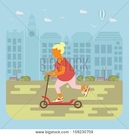 Happy people concept. Senior woman cycling by the street. Flat style cartoon vector illustration with isolated characters on city background.