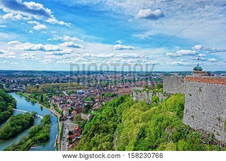 Aerial Veiw And Citadel At Besancon Bourgogne Franche Comte France