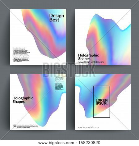 Holographic shapes backgrounds set. Applicable for titles,cover,poster,brochure,magazine. Vector template.