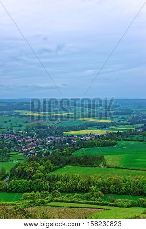 Aerial View Of Vezelay In Bourgogne Franche Comte In France