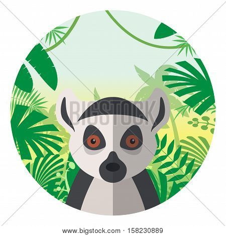 Flat Vector image of the Lemur on the Jungle Background