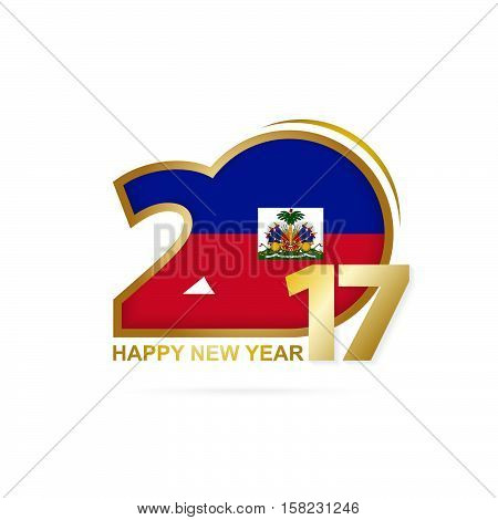 Year 2017 With Haiti Flag Pattern. Happy New Year Design On White Background.