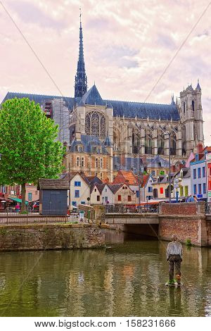 Amiens Cathedral And Don Street In Picardy