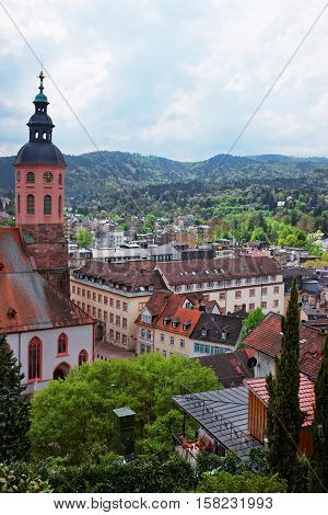 Baden Baden Church Stiftskirche And City Center In Germany