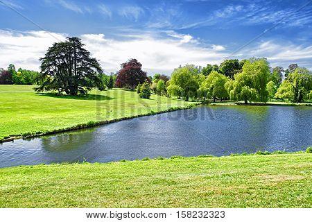 Beautiful Pond Near Leeds Castle In Kent Uk