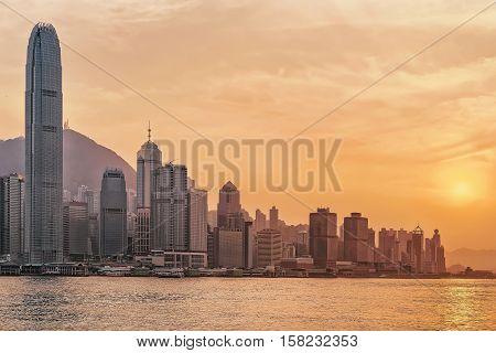 Beautiful Victoria Harbor In Hong Kong At Sunset