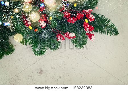 red and white christmas - twig with red berries and gree evergreen tree with copy space, retro toned