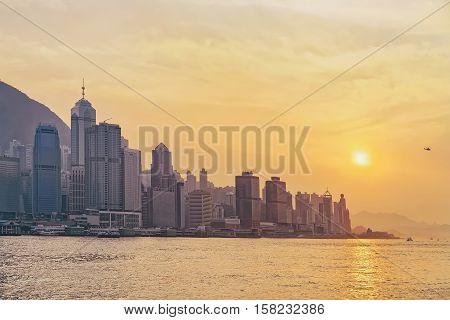 Beautiful Victoria Harbor Of Hong Kong At Sunset