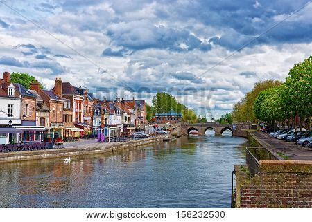 Belu Quay With Traditional Houses And Somme River In Amiens