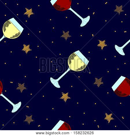 Christmas seamless background with golden stars and glasses with wine. Hand drawn design for winter holidays.