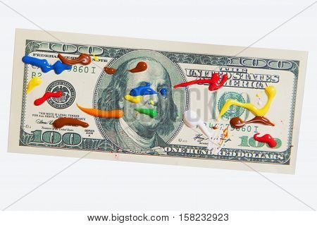 Making fake dollars. Drawing process of counterfeit money (humorous photo)