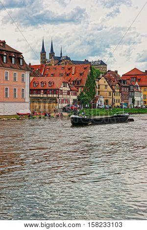 Boat Fishermen Houses And Regnitz River In Little Venice Bamberg