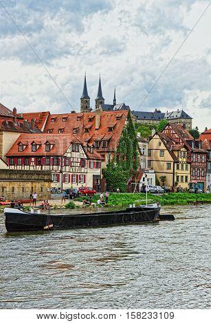 Boat Fishermen Houses And Regnitz River Of Little Venice Bamberg