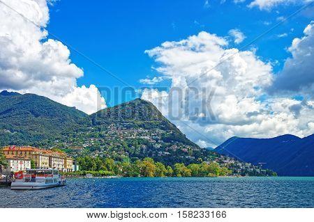 Boat With Flag At Promenade In Lugano  Ticino Switzerland