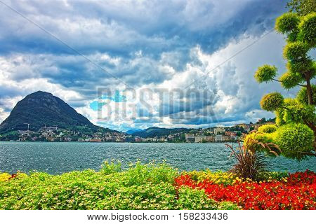 Botanical Garden At Promenade In Lugano In Ticino In Switzerland