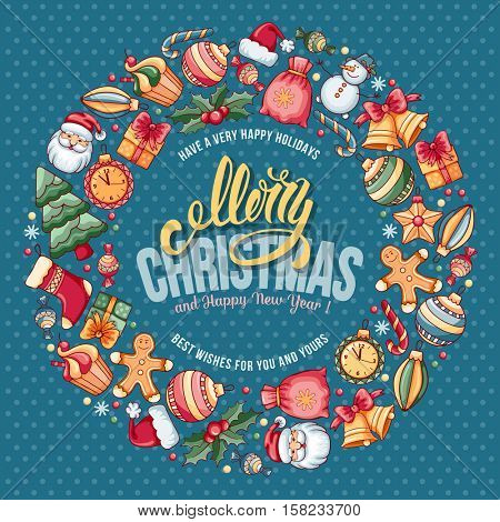 Festive Christmas and New Year Rounded Design with Different Christmas Objects on Blue Background. Vector Illustration.