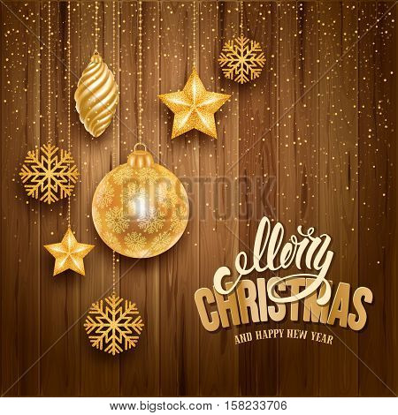 Festive Christmas Luxury Design with Golden Christmas Decorations on Wooden Background. Vector Illustration.