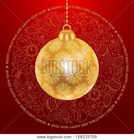 Festive Christmas and New Year Rounded Design with Golden Christmas Ball and Different Christmas Objects in Doodle Style on Red Background. Vector Illustration.