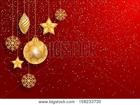 Festive Christmas Red Background with Golden Christmas Decorations and Golden Glitters. Vector Illustration.