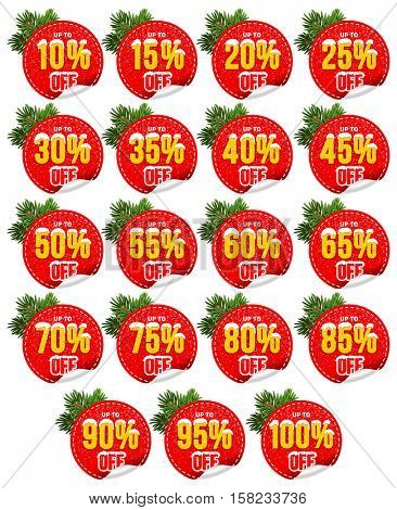 Set for Christmas and New Year Sale. Stickers, Tags, Labels About Discounts. Isolated on White Background. Vector Illustration.