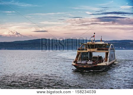 Car Ferry On Lake Constance In Baden Wurttemberg