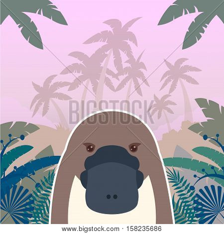 Flat Vector image of the Platypus on the Jungle Background