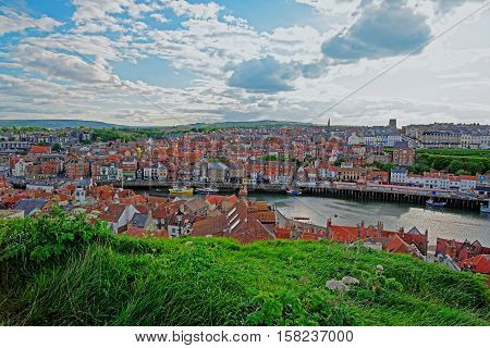 Coast Of North Sea In Whitby North Yorkshire Uk