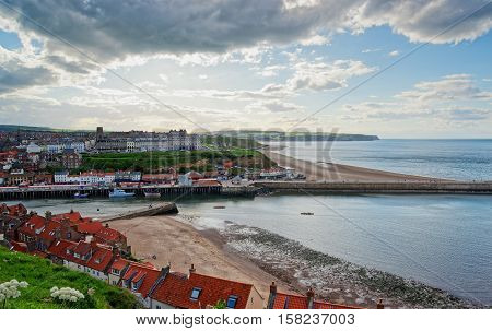 Coast Of North Sea In Whitby In North Yorkshire Uk