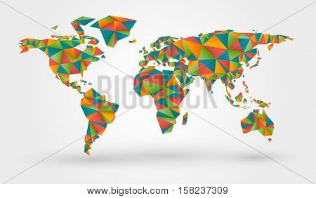 Polygonal colorful world map in origami style