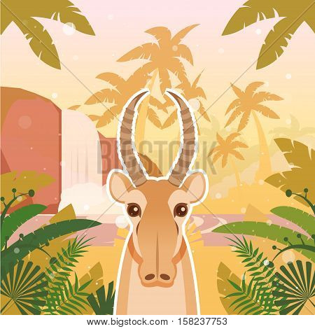 Flat Vector image of the Saiga on the Jungle Background