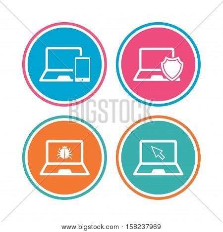 Notebook laptop pc icons. Virus or software bug signs. Shield protection symbol. Mouse cursor pointer. Colored circle buttons. Vector