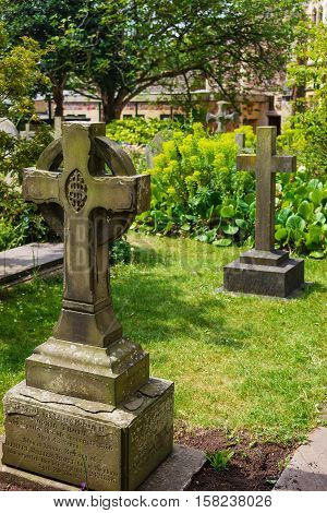 Crosses At Churchyard Cemetery In Bristol Cathedral Uk