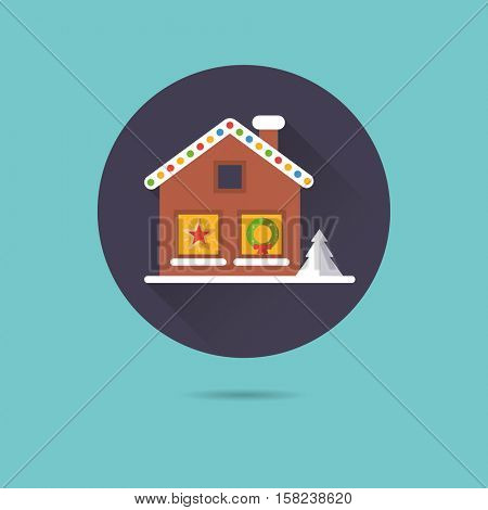 Small house with Christmas decoration at night flat design long shadow vector icon