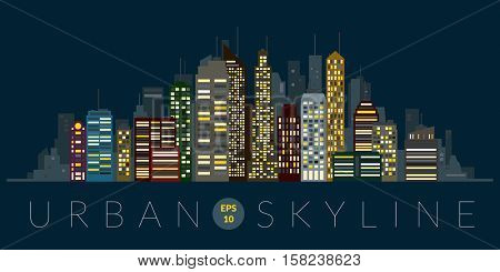 Cityscape Illustration. Urban night skyline with skyscrapers and tall buildings flat design