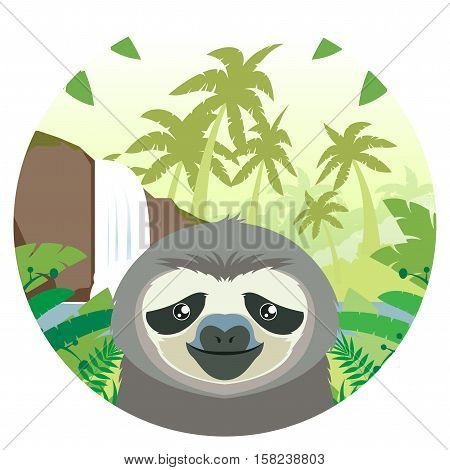 Flat Vector image of the Sloth on the Jungle Background