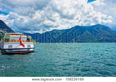 Excursion Ship At Promenade In Lugano In Ticino In Switzerland